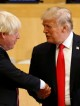 U.S. President Donald Trump shakes hands with British Foreign Secretary Boris Johnson (L) as they take part in a session on reforming the United Nations at U.N. Headquarters in New York, U.S., September 18, 2017. REUTERS/Kevin Lamarque - RC1B969FCF70